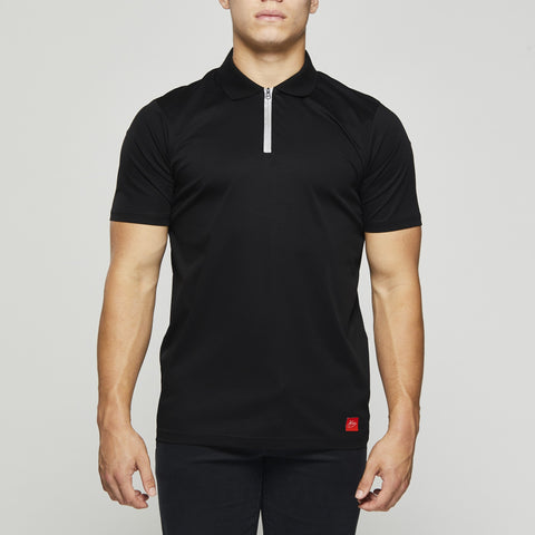 John Charles Designed ZIP Polo Shirts with Ultra Soft Finish - BLACK