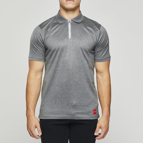 John Charles Designed ZIP Polo Shirts with Ultra Soft Finish - GREY