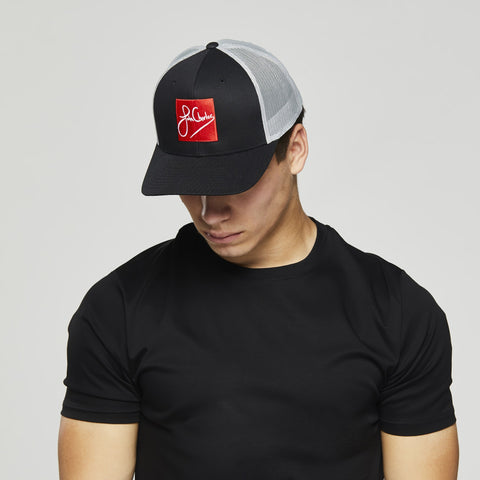 John Charles Apparel – RED SKWARE – SIGNATURE Adjustable Mesh Trucker Cap - BLACK/GREY