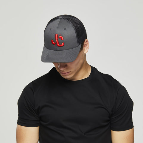 John Charles Apparel – JC– CLASSIC Adjustable Mesh Trucker Cap - GREY/RED