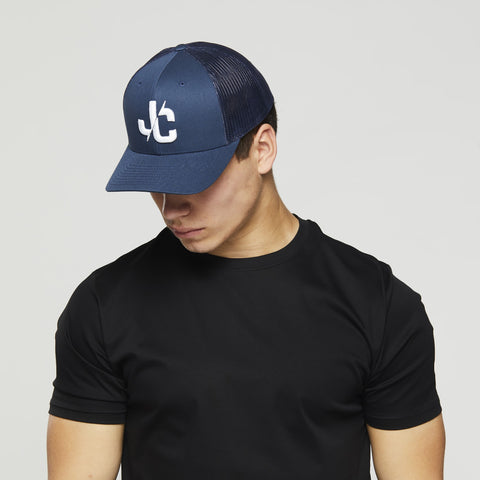 John Charles Apparel – JC– CLASSIC Adjustable Mesh Trucker Cap - BLUE/WHITE