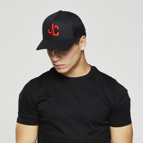 John Charles Apparel – JC– CLASSIC Adjustable Mesh Trucker Cap - BLACK/RED