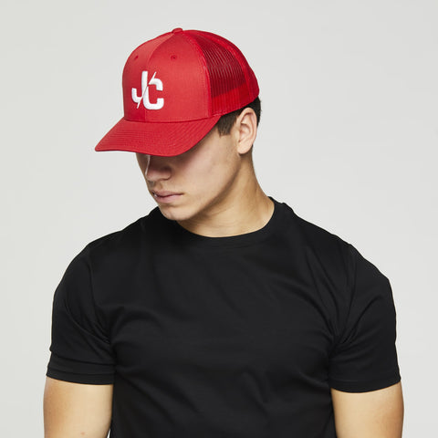John Charles Apparel – JC– CLASSIC Adjustable Mesh Trucker Cap - RED/WHITE
