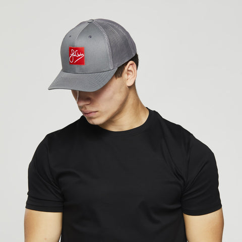 John Charles Apparel – RED SKWARE – SIGNATURE Adjustable Mesh Trucker Cap - LIGHT GREY