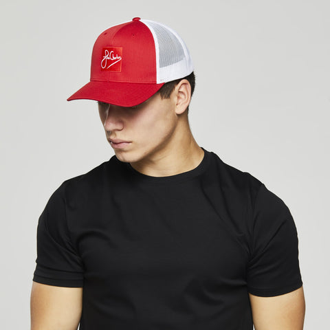 John Charles Apparel – RED SKWARE – SIGNATURE Adjustable Mesh Trucker Cap - RED/WHITE