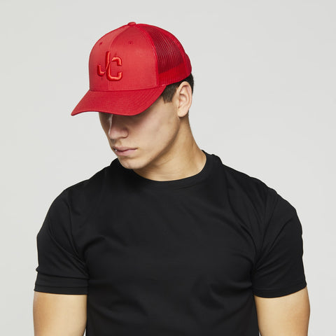 John Charles Apparel – JC– CLASSIC Adjustable Mesh Trucker Cap - RED/RED