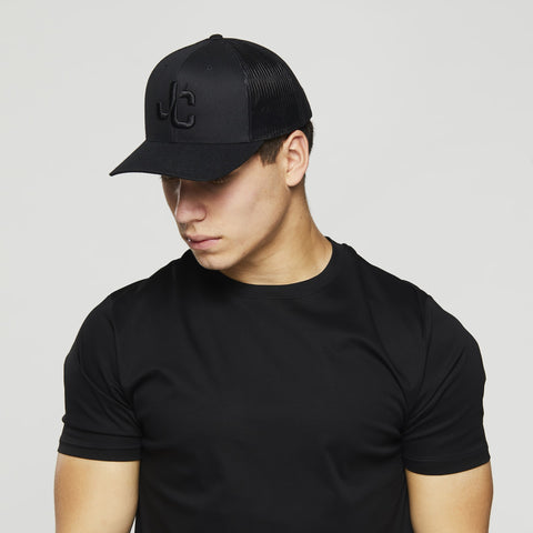 John Charles Apparel – JC– CLASSIC Adjustable Mesh Trucker Cap - BLACK/BLACK