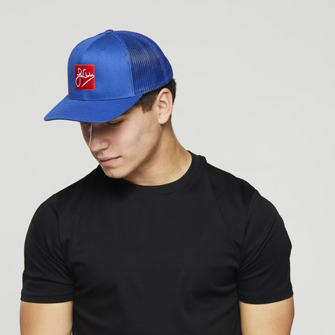 John Charles Apparel – RED SKWARE – SIGNATURE Adjustable Mesh Trucker Cap - BLUE