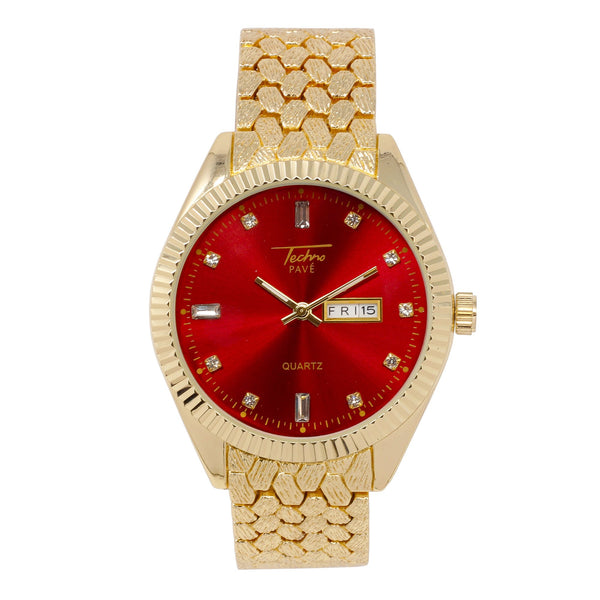 Red Face Textured Watch