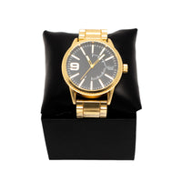 Gold Metal Band Blk Dial Watch