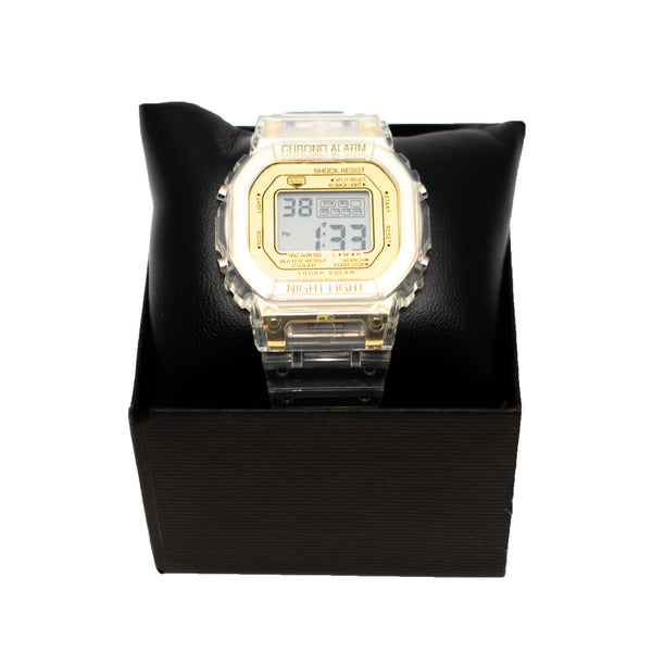 Smokey Transparent LCD Gold Watch