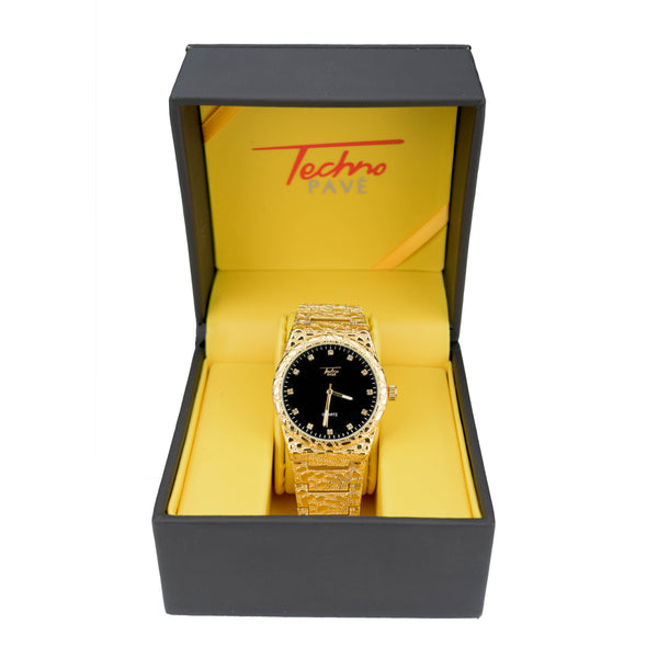 Techno Nugget Style Gold Watch