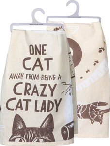 One Cat Away From A Crazy Cat Lady Dish Towel