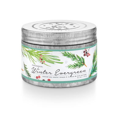 Winter Evergreen Tin Candle - Small