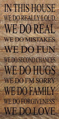In This House Family Reclaimed Wood Box Sign