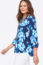 Load image into Gallery viewer, Blue Passion Flower Pintuck Blouse