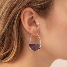 Load image into Gallery viewer, Stone Prism Hoop - Amethyst/Silver
