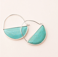 Load image into Gallery viewer, Stone Prism Hoop - Turquoise/Silver