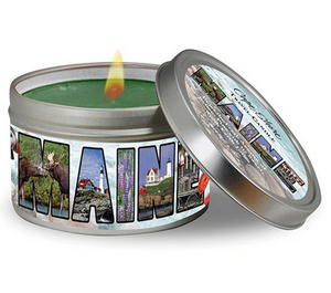 Maine Travel Candle Photo Collage- Balsam Fur