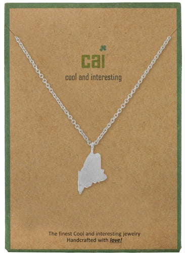 Maine Dainty Charm State Silver Necklace