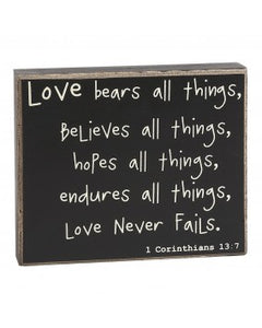 Love Never Fails Box Sign