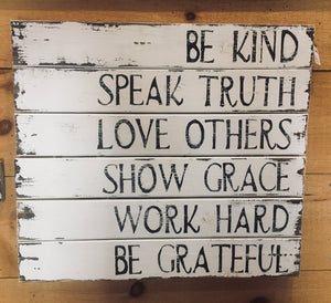 Rustic Be Kind Square Slat Sign