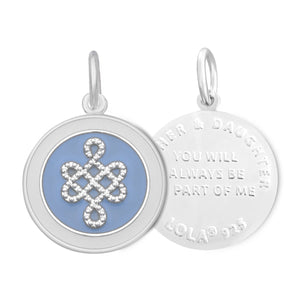 Lola Mother and Daughter pendant. You will always be part of me. Enamel pendant pale blue.