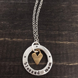 Blessed Mom Washer with Heart Necklace
