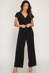 she and sky tie front jumpsuit