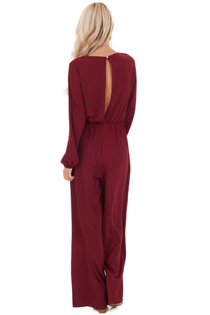 Jumpsuit with Front Tie and Back Keyhole Button Closure