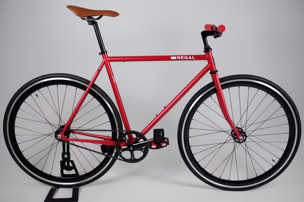 Matte Red Fixie Bike with Deep Black 40mm Rims, comes with a flip flop hub so it can be ridden as single speed as well.