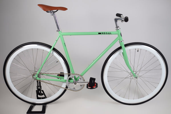 This Fixie Bike comes with a mint green frame and white rims, the flip flop hub allows for single speed riding or fixed gear riding