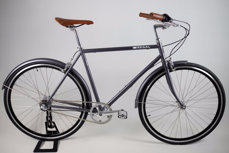 Commuter Bike with a three speed internal hub, made with a steel frame, matte gray in colour, and black rims.