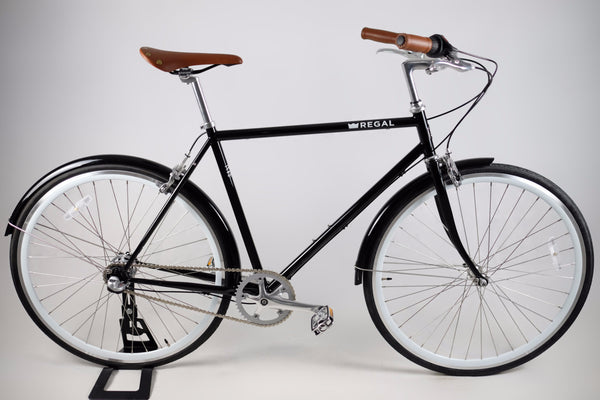 3-Speed City Bicycle withe a Black Frame and 30MM Deep White Rims