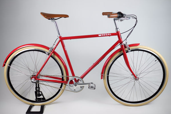City Bicycle with a Red Frame, Red Fenders and Black Rims, Comes with a 3-Speed Internal Hub for Cruising Around the City