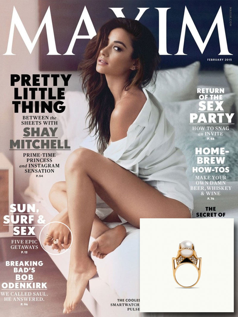 SHAY MITCHELL WEARS AUSET PEARL RING IN MAXIM MAGAZINE