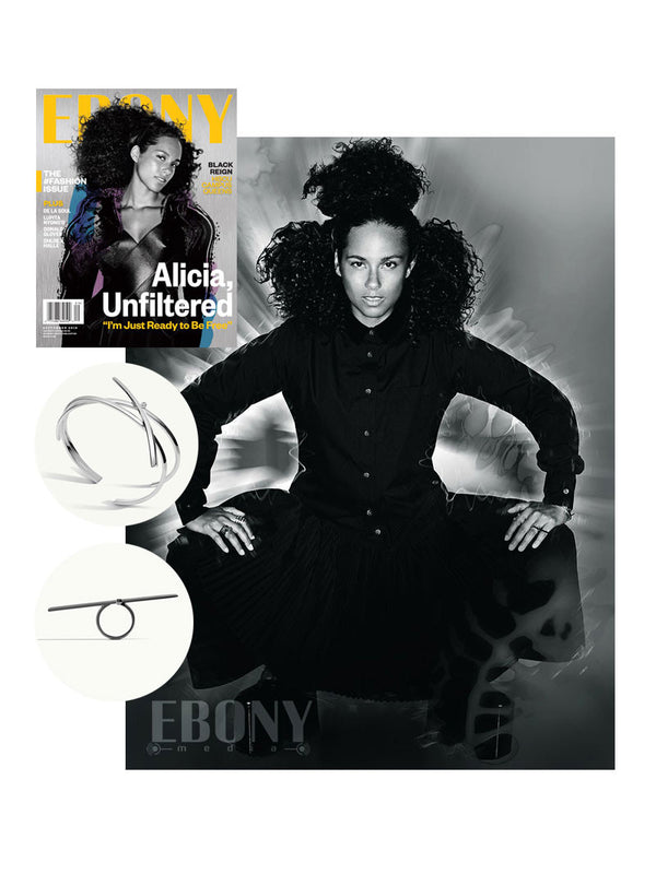 ALICIA KEYS WEARS PHYTIA COIL BRACELET AND LILITH RING IN EBONY MAGAZINE