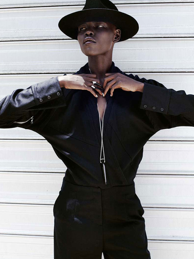 MODEL GRACE BOL WEARS DAMIAN RING AND PENDULUM NECKLACE FOR PLAYING FASHION EDITORIAL