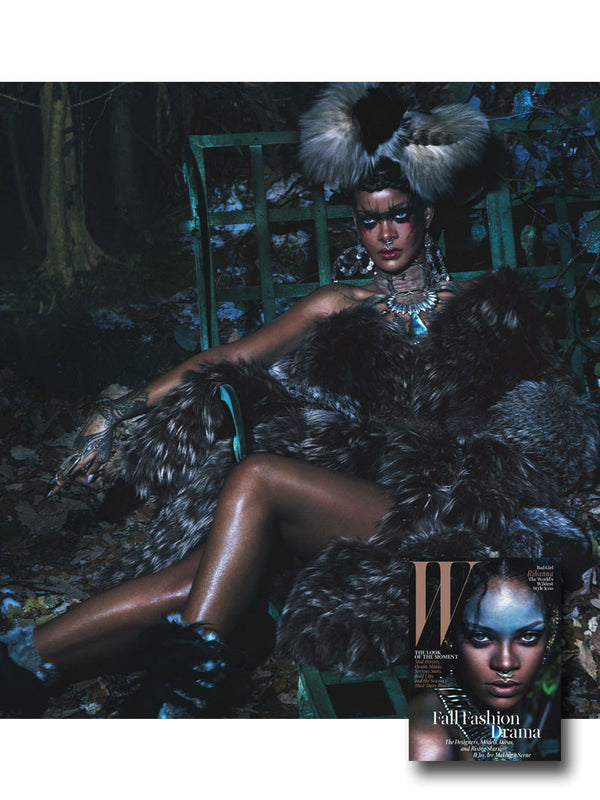 RIHANNA WEARING DAMIAN RINGS IN W MAGAZINE STYLED BY EDWARD ENNINFUL