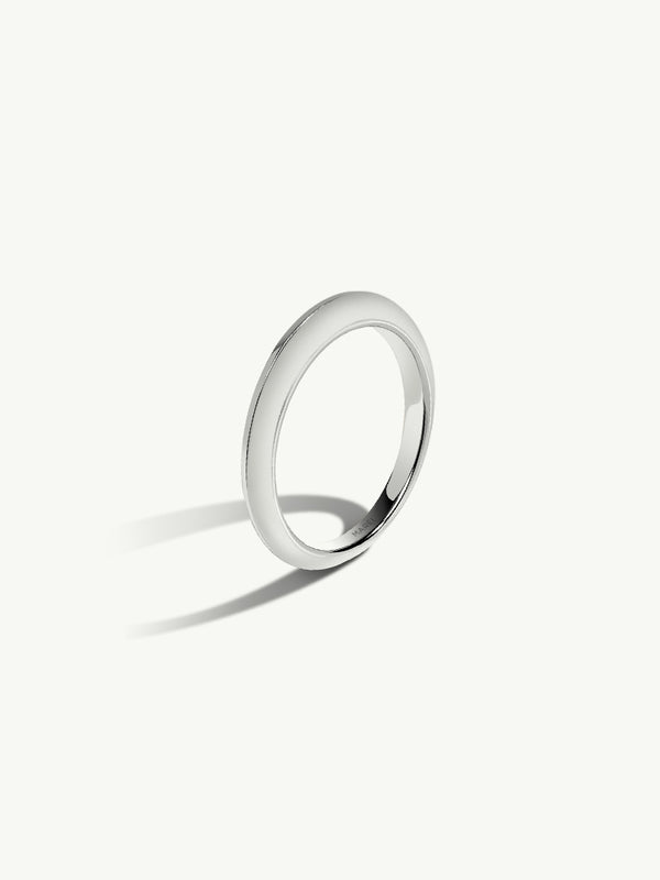 Marei Beveled Edge Wedding Band in 18K White Gold