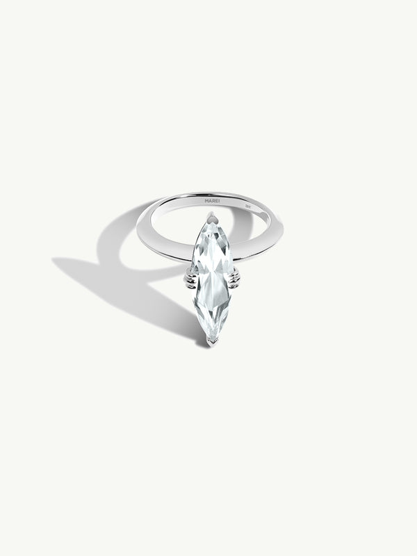 Marei Beveled Edge Solitaire Engagement Ring With Marquise-Cut White Aquamarine In 18K White Gold