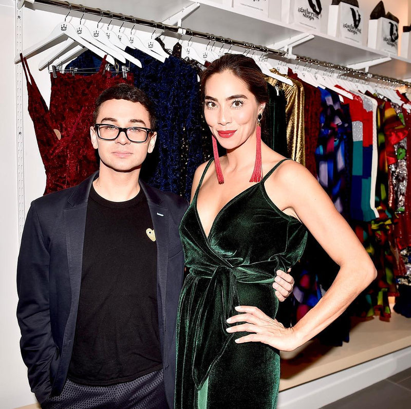 Christian Siriano with Anna Maria Sandegren in Alexandria Tassel Earrings by Diaboli Kill Jewelry by Angie Marei