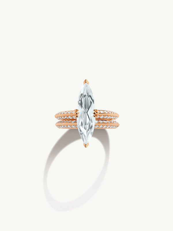 "Marei Pavé Diamond ""Halo"" Engagement Ring With Marquise-Cut White Aquamarine In 18K Rose Gold"