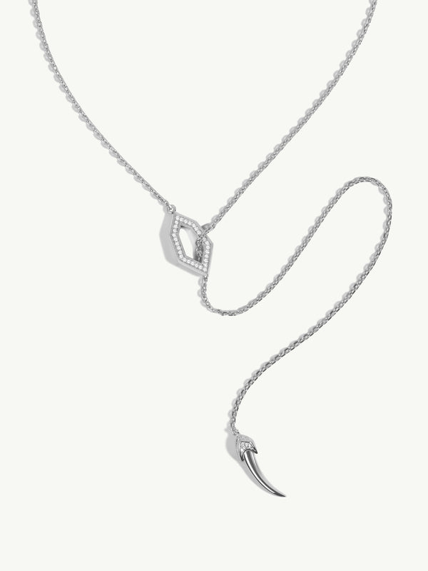Amanti Lariat Chain Necklace With Pavé Diamonds In 18K White Gold