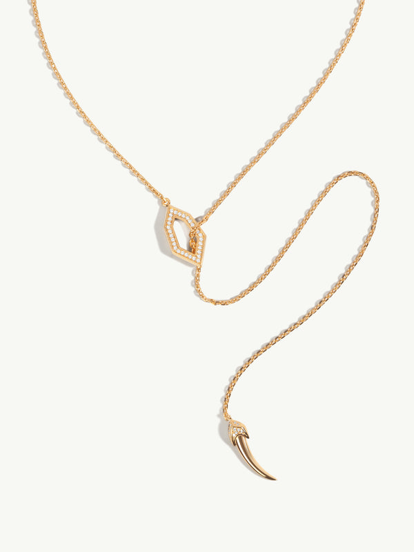 Amanti Lariat Chain Necklace With Pavé Diamonds In 18K Yellow Gold
