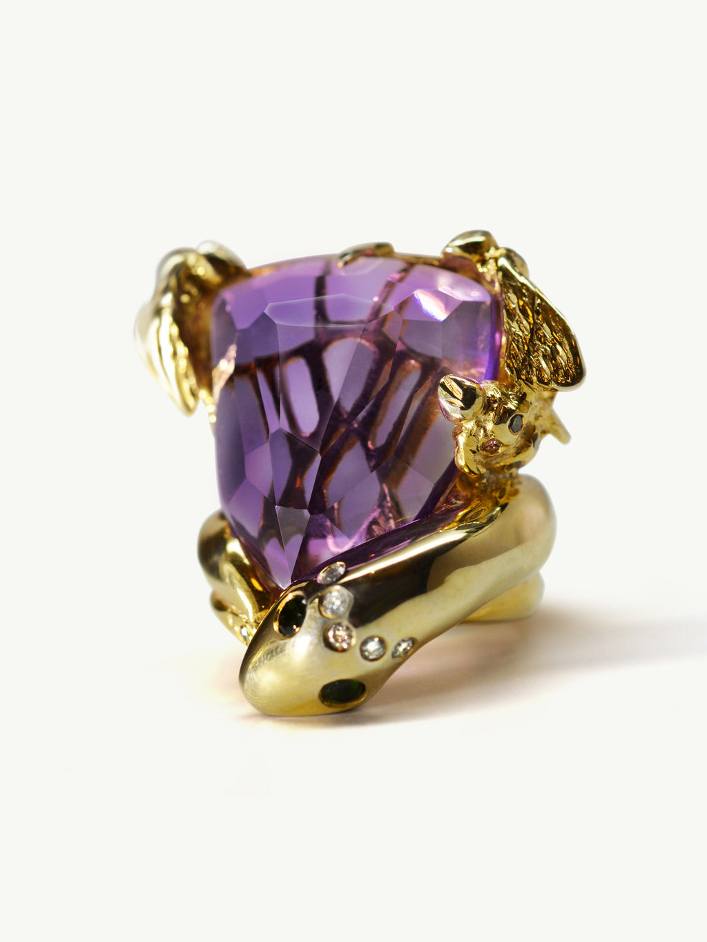 Serpent and Bee Amethyst Cocktail Ring