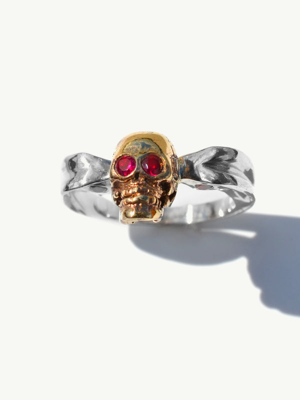 Ira Skull Ring With Rubies and Sapphires