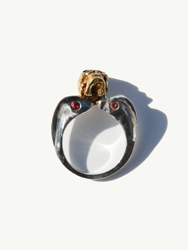 Memento Mori Skull Ring With Rubies And Sapphires in 18K Gold