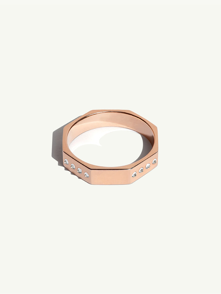 18K Rose Gold with White Diamonds