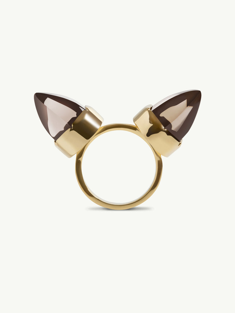 Levant Smoky Quartz Horn Ring in 18K Yellow Gold Vermeil